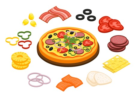 Cooking pizza concept with pineapple olives and cheese flat isolated vector illustration