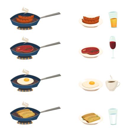 Pan die met traditionele ontbijtschotels wordt geplaatst als gebraden frankfurterworst vectorillustratie van het vleeseieren Stock Illustratie
