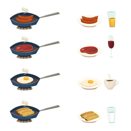 Pan set with traditional breakfast dishes so as fried frankfurter pancakes meat eggs vector illustration