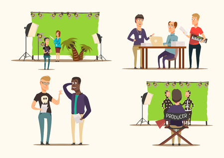 Movie making process and shooting team characters 2x2 flat concept isolated on white background vector illustration  イラスト・ベクター素材