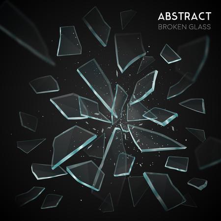壊れたガラス粉砕様々 な幾何学的形態鋭い作品を広めると黒の背景のベクトル図に離れて飛んで