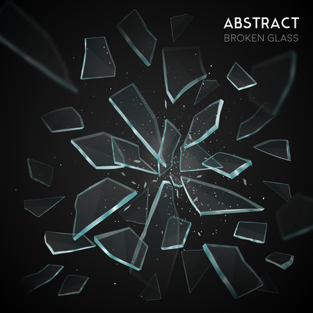 Broken glass shatters various geometric forms sharp pieces spreading and flying apart on black background  vector illustration Иллюстрация