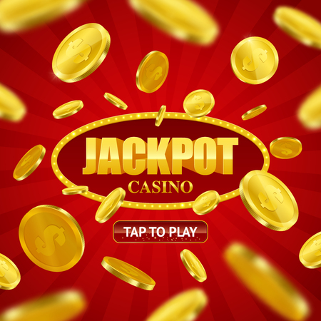 Jackpot casino game online site design with play button option and flying golden coins background vector illustration.