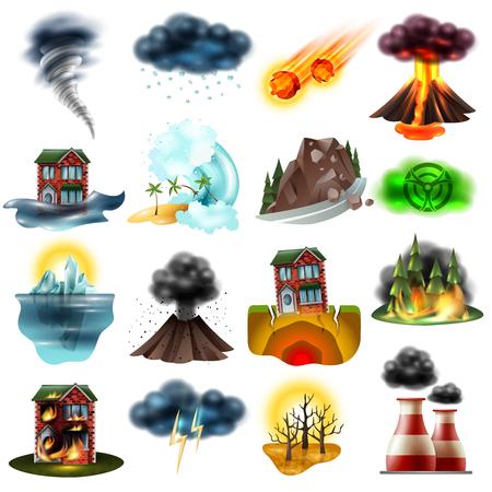 Set di disastri naturali tra cui inondazione terremoto siccità fuoco tsunami radiazioni grandine ambiente inquinamento isolato illustrazione vettoriale.