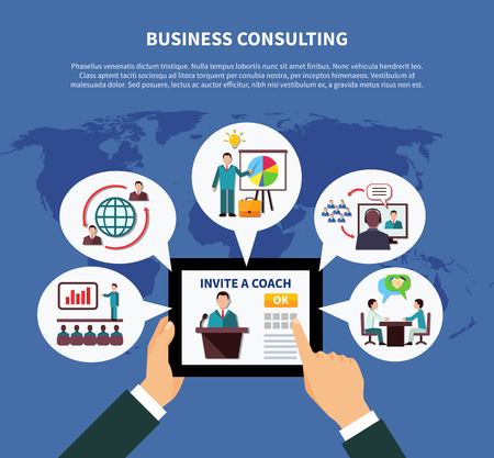 Business online composition with tablet and thought bubble inscribed commercial presentation images on world map background vector illustration.