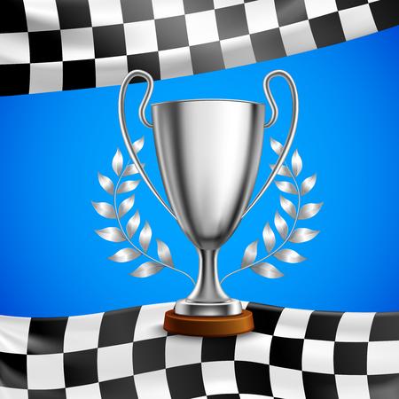 De zilveren trofee van de raswinnaar met de laurierkranstakken van de metaalbaai op geruite vlag blauwe vectorillustratie als achtergrond