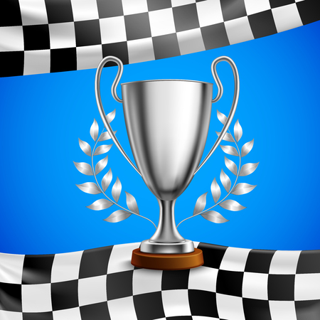 Silver race winner trophy with metal bay laurel wreath branches on checkered flag blue background vector illustration