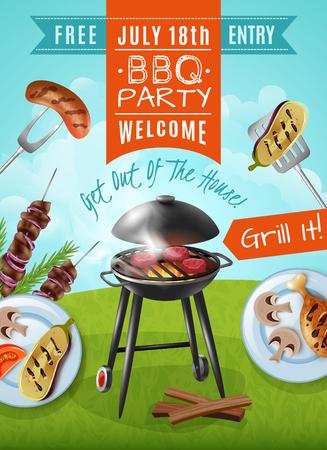 Affiche de fête barbecue avec steaks sur le grill, assiettes au poulet et légumes, viande sur illustration vectorielle de brochettes