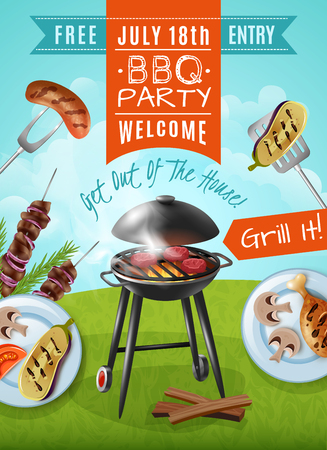 Barbecue party poster with steaks on grill, plates with chicken and vegetables, meat on skewers vector illustration Illustration