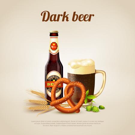 Realistic background with bottle and mug full of dark beer vector illustration. Illustration