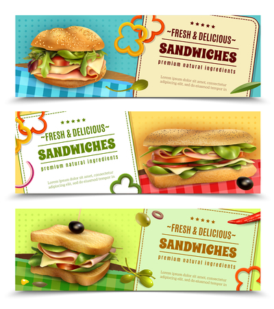 Healthy whole grain sandwiches with natural fresh ingredients 3 horizontal advertisement banners set realistic isolated vector illustration Illustration