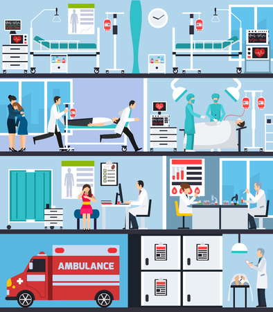 Hospital interior flat compositions with ambulance car nurses with patient on stretcher doctors in operating room vector illustration