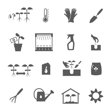 Seedling black and white icons set flat isolated vector illustration