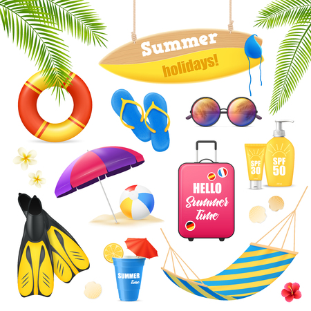 Summer holidays tropical beach vacation accessories realistic images set with surfboard suncream lifebuoy and fins vector illustration