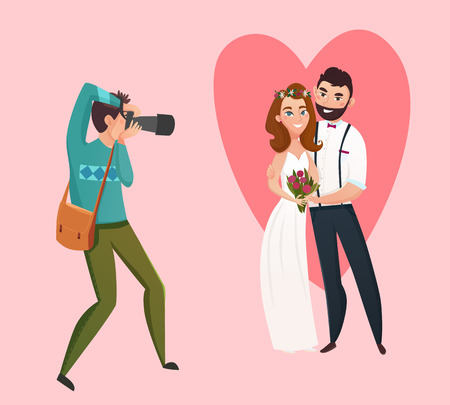 Newlyweds photographing design concept with Bride groom and wedding photographer figurines flat vector illustration Çizim