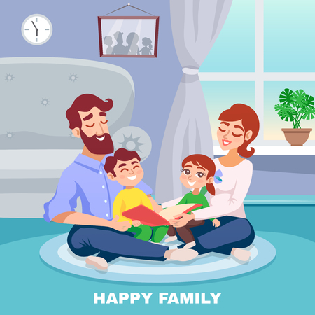 Happy family in home interior cartoon poster with mother father son and daughter reading book together  flat vector illustration