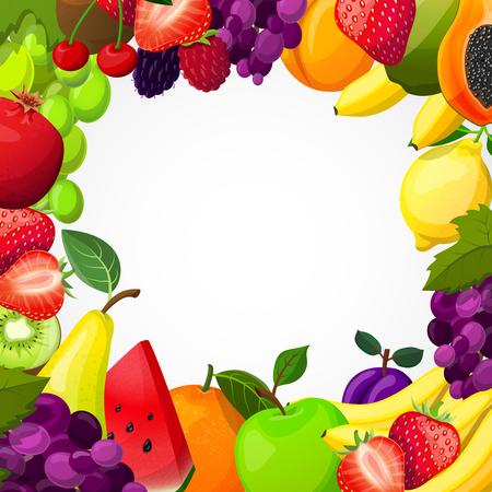 white grape: Fruits frame template with papaya pear grape apple kiwi plum lemon berries on white background vector illustration Illustration