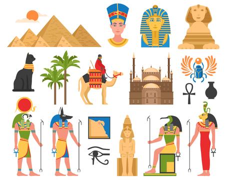 이집트 고 대 이집트 우상 동상 및 건축 구조 평면 배경 벡터 일러스트 레이 션에 고립 된 이미지 집합 일러스트
