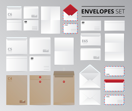 letter envelopes: Realistic paper office envelopes document letter set of isolated images with templates for different sheet size vector illustration Illustration