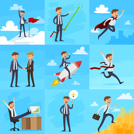 Career growth set of icons with targets partnership superman winner successful work creativity climbing isolated vector illustration