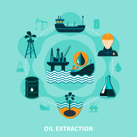 Oil industry flat composition with off-shore petroleum production icons and silhouette images with human character vector illustration Illustration