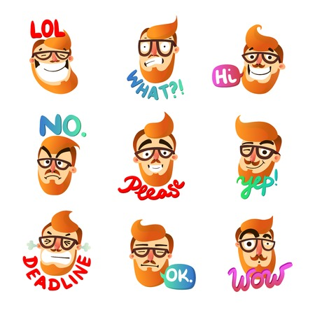 Hipster man face expressing different emotions with speech bubble cartoon isolated on white background vector illustration Illustration