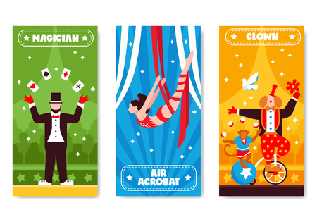Circus vertical banners with colorful artwork and flat artist characters with stars and decorative text descriptions vector illustration Иллюстрация