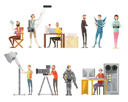 Conjunto de hacer la película, incluyendo los actores, director, camarógrafo, sonido, ingeniero, iluminación, operador, plano, estilo, aislado, vector, ilustración Foto de archivo - 79094439