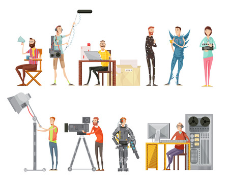 Set of making movie including actors director cameraman sound engineer lighting operator flat style isolated vector illustration Ilustração