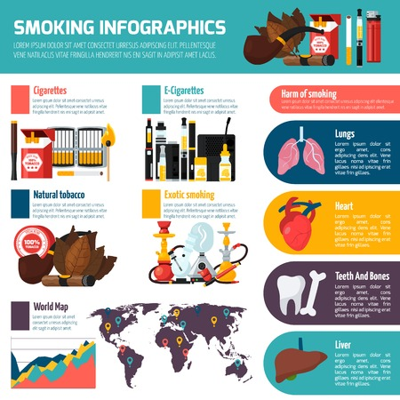 Smoking infographics template with statistics of natural tobacco and hookah use and harm of smoking information flat  vector illustration Illustration