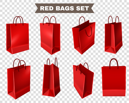 Set of red shopping bags from plastic or paper with handles on transparent background isolated vector illustration Çizim