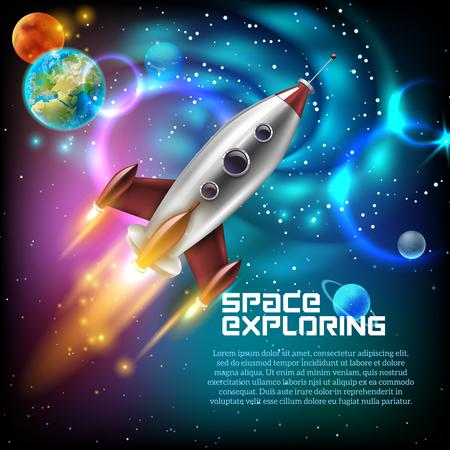 Ruimteverkenning met retro raketplaneten en sterren op donkere achtergrond met stralen en gloed vectorillustratie