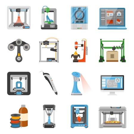 3D-afdrukken iconen set van monitor met software op het scherm details en verbruiksgoederen voor scanners en printers platte vectorillustratie