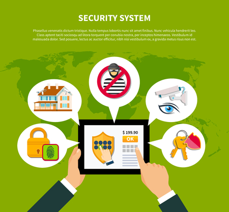 Security concept with financial and home security symbols flat vector illustration Illustration