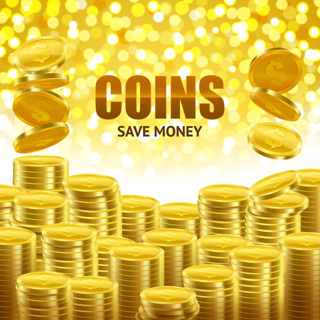 Save money financial background poster with stacks of golden coins and shiny bright yellow spots vector illustration