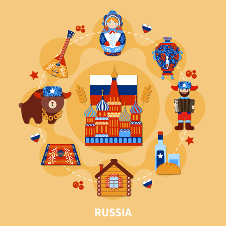 Travel round composition of isolated sticker style images of authentic russian art with sights and symbols vector illustration