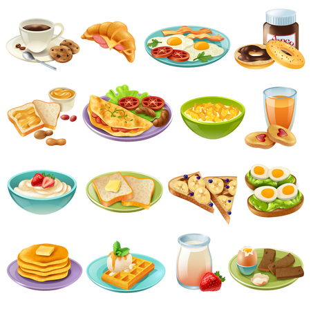 Breakfast brunch healthy start day options food realistic icons collection with coffee and fried eggs isolated vector illustration Иллюстрация
