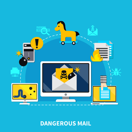 Dangerous mail design concept set of computer with dangerous mail cracking smartphone worm and trojan horse virus signs cartoon vector illustration Ilustração