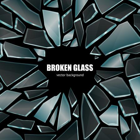 Gebroken glas donker glanzende realistische fragmenten op zwarte achtergrond scherm smartphone behang poster decoratieve vectorillustratie