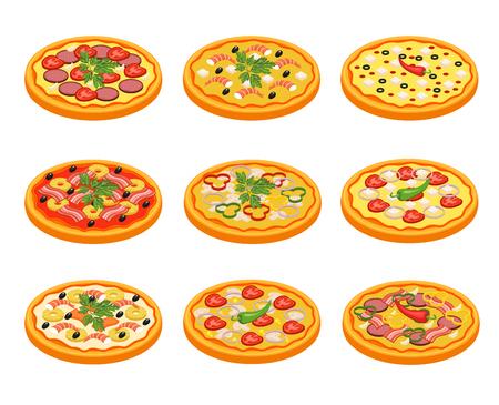 pizza icons set avec des légumes de légumes viande et poisson plat isolé illustration vectorielle