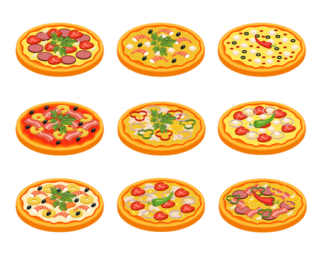Pizza icons set with fruit vegetables meat and fish flat isolated vector illustration Illustration