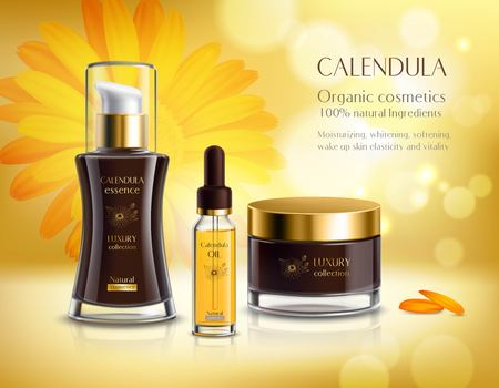 Natural cosmetics skincare products realistic advertisement poster with calendula extract cream and oil bright background vector illustration 向量圖像