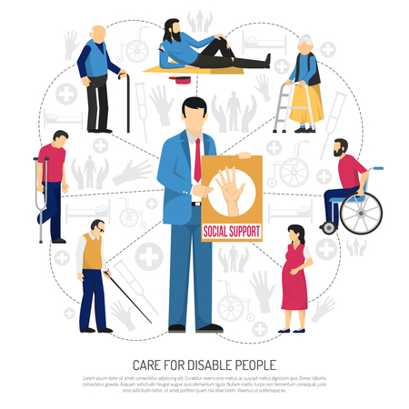 Social support for disabled people composition with elderly persons homeless invalids around man with placard vector illustration Иллюстрация