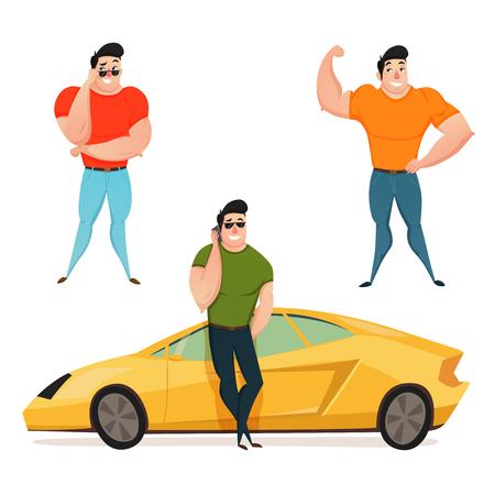Platte ontwerpsamenstelling met drie brutale brunet-macho die de grote vectorillustratie van het spieren vlakke beeldverhaal tonen