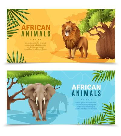 vertebrate: Safari animals horizontal banners with elephant and lion symbols on african trees background cartoon vector illustration
