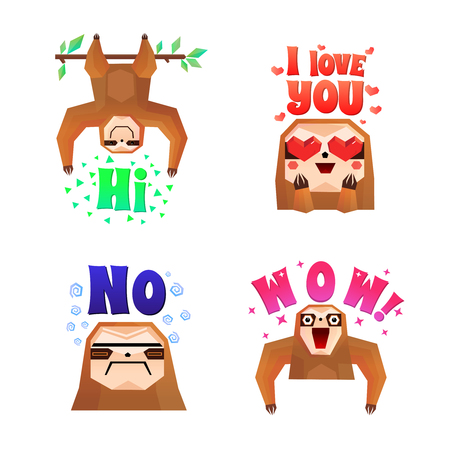 Sloth 4 funny cartoon character icons set with wow love no and hi colorful letters isolated vector illustration