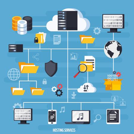 Hosting services and data base flowchart with data storage symbols flat vector illustration