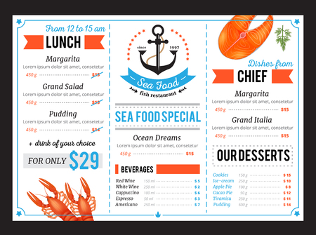 Classic sea food restaurant menu template with special chef dishes and daily budget lunch offer vector illustration Illustration