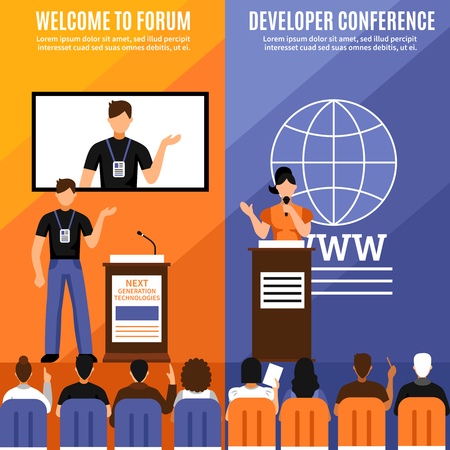 Two conference hall interior vertical banner set with welcome to forum and developer conference descriptions vector illustration