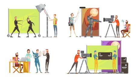 Concepto de hacer la película con los actores del director en el set de filmación camarógrafo y el ingeniero de sonido iluminación aislado ilustración vectorial Foto de archivo - 79134516